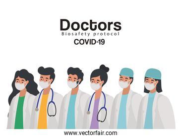 doctors biosafety protocol covid 19 lettering and set of doctors icons