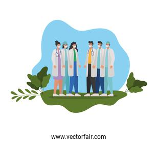 bundle of doctors icons on a meadow
