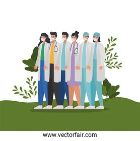 set of doctors icons over a meadow