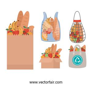 set of market bags full of market products
