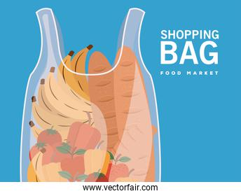 shopping bag food market lettering and plastic bag full of market products