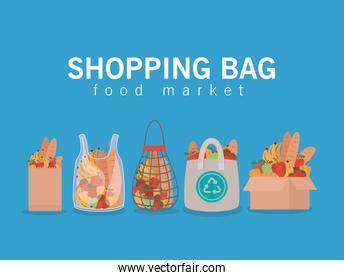 shopping bag food market lettering and set of market bags full of market products