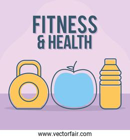 fitness and health lettering with set of fitness and health icons on a purple background