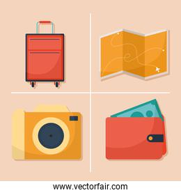 bundle of travel icons on a pink background