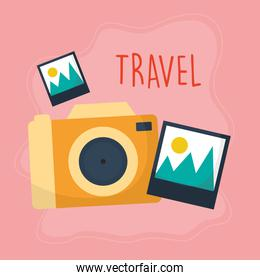 travel lettering with camera with a orange color and image icons