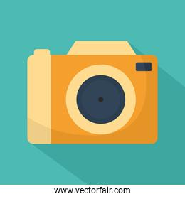 camera with a orange color on a blue background