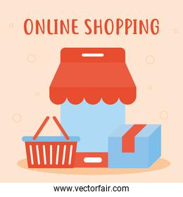 online shopping lettering with bundle of online shopping icons