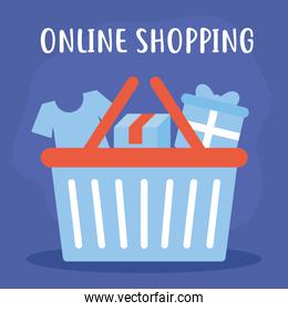 online shopping lettering with bundle of online shopping icons on a blue background