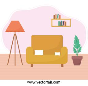 living room with one sofa, plants plus a lamp