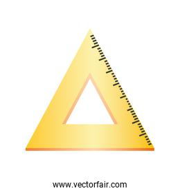 back to school triangle ruler measuring supply icon design
