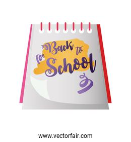 back to school handwritten text in notepad with spiral icon