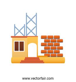 home remodeling structure wall brick improvement icon design vector