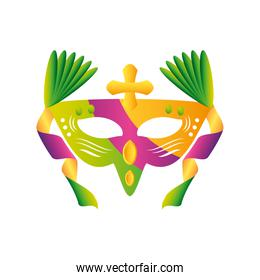 mardi gras festive mask with cross and ornament