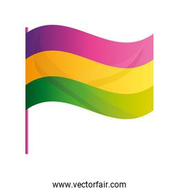 mardi gras flag in pole with color party emblem