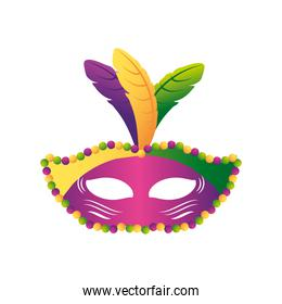 mardi gras carnival mask with beads and feathers decoration
