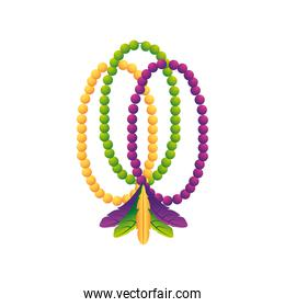 mardi gras beads and feathers decoration ornamental