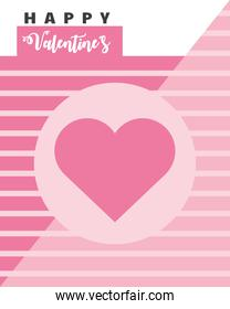 happy valentines day card with pink heart over striped background
