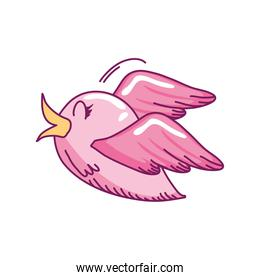 cute little pink bird flying cartoon on white background hand drawn style