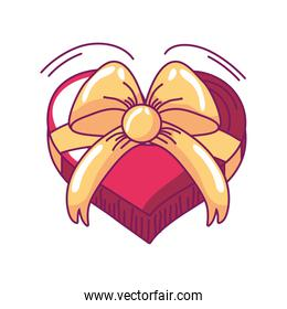 happy valentines day gift box shaped heart with ribbon hand drawn style
