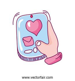 happy valentines day, hand with smartphone sending message romantic hand drawn style
