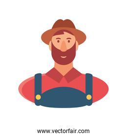 character cartoon farmer man in overalls and hat