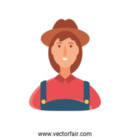 cartoon character farmer woman in coverall suit and hat