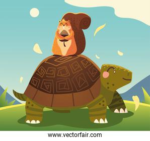cute turtle and squirrel with acorn in the meadow cartoon