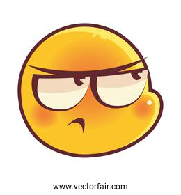 funny emoji, annoyed emoticon face expression social media over white