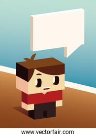 cute boy talk speech bubble, isometric design