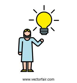elegant business woman with bulb avatar character