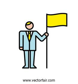business man with flag avatar character