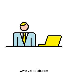 business man with laptop avatar character
