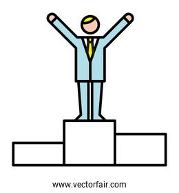 business man in podium avatar character