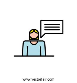 elegant business woman with speech bubble avatar character