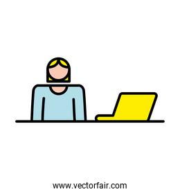 elegant business woman working in laptop avatar character