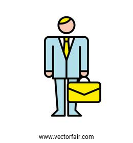 business man with portfolio avatar character