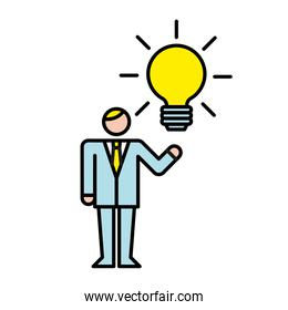 business man with bulb avatar character
