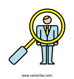 business man with magnifying glass avatar character