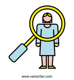 elegant business woman with magnifying glass avatar character