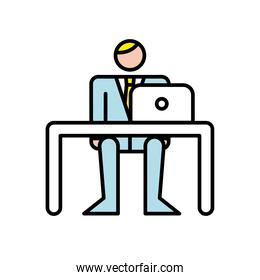 business man working with laptop in office avatar character