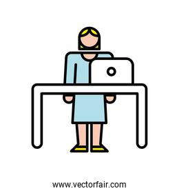 elegant business woman using laptop in the office character