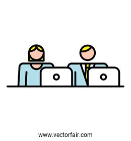 business couple with laptop avatars characters workers
