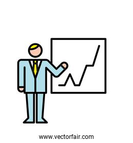 business man training with statistics avatar character