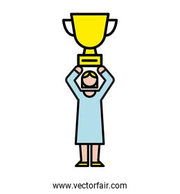 elegant business woman with trophy avatar character