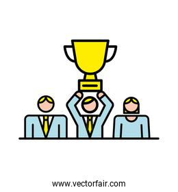 business people team with trophy cup characters workers