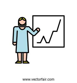 elegant business woman training with statistics avatar character