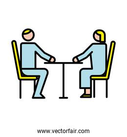 business couple avatars in table characters
