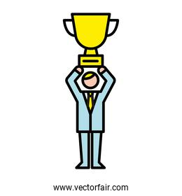 business man lifting trophy cup avatar character