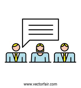 business people team with speech bubble characters workers