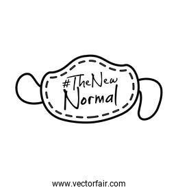 new normal lettering campaign in face mask hand made line style